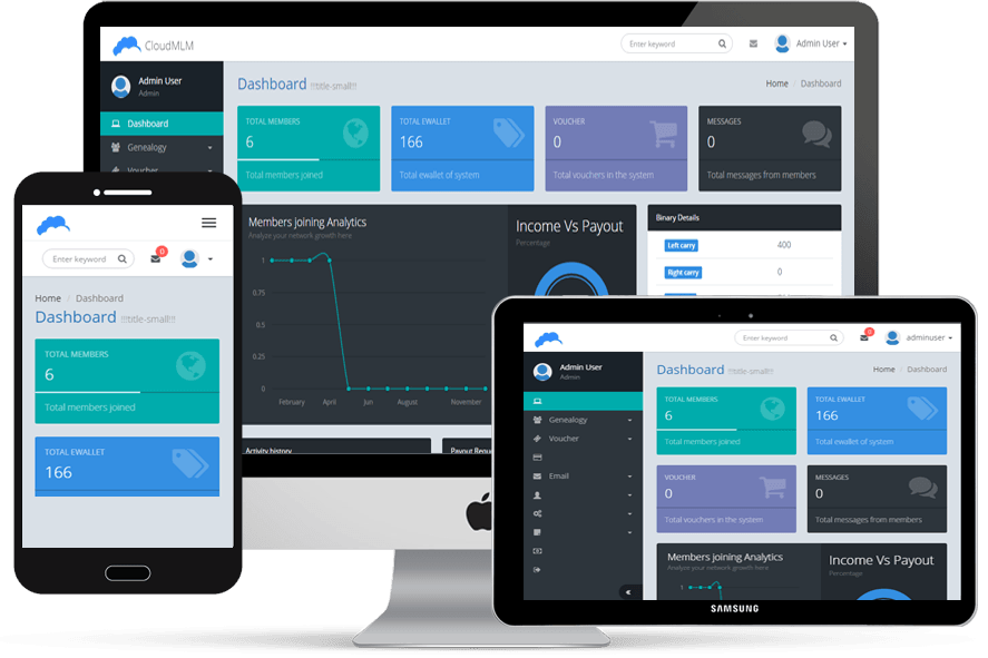 MLM Software responsive dashboard
